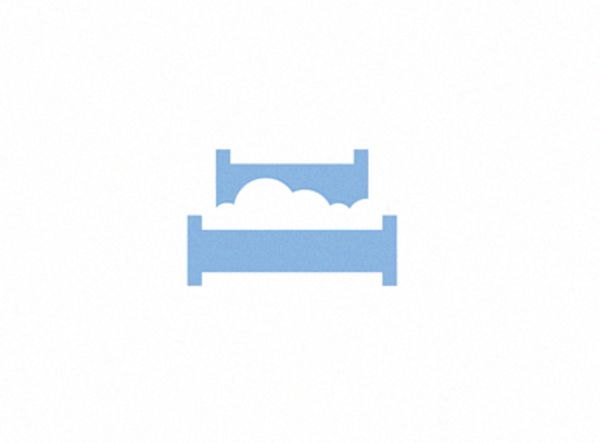 minimalist logo with a blue bed and a cloud made from negative space