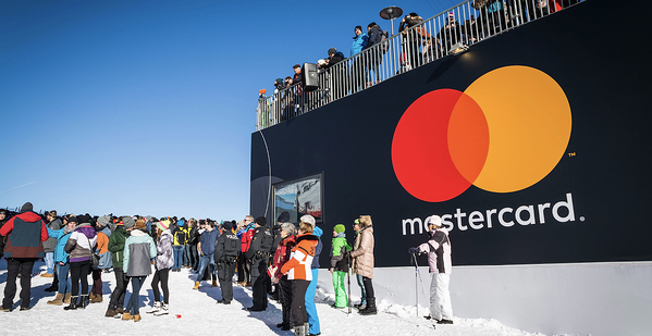 mastercard minimalist logo on billboard
