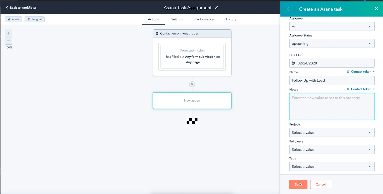A screenshot illustrating the point made above (using Asana to create a task)