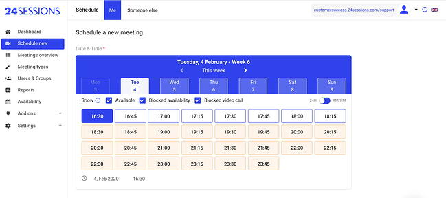 Group scheduling tool by 24Sessions