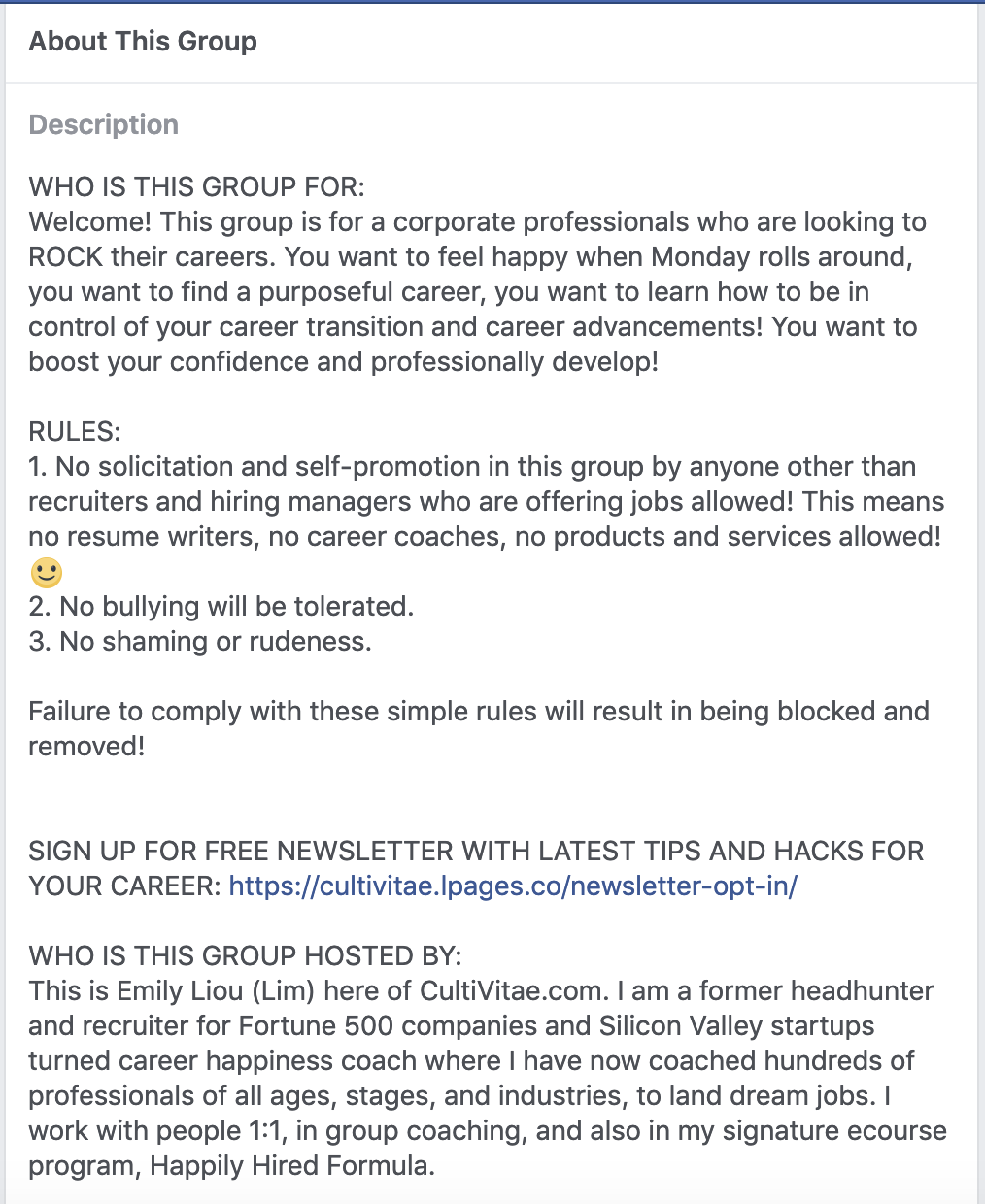 Career coaching Facebook group rules