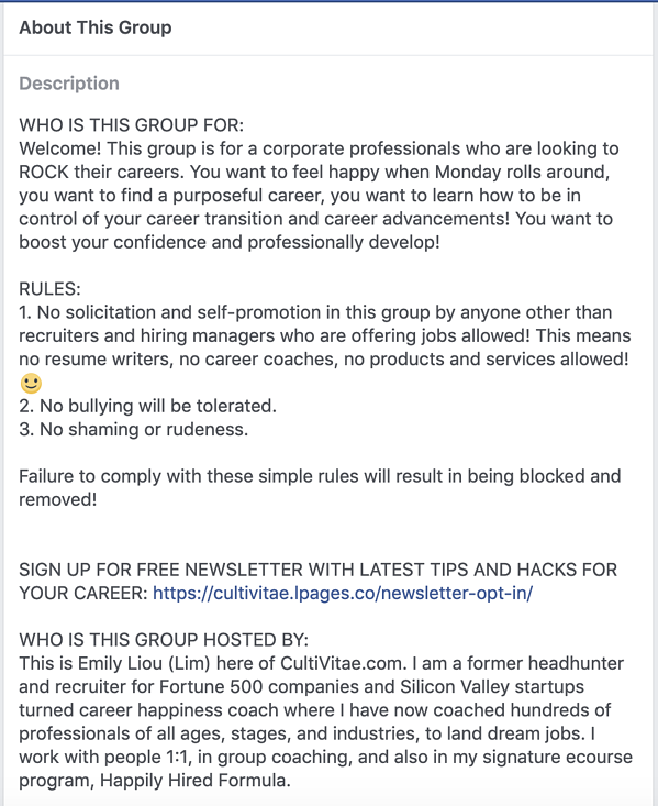 Career coaching Facebook group rules.