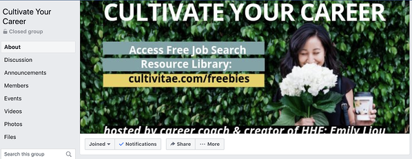 Career coaching business Facebook group.