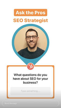 SEO Q&A Instagram Story from HubSpot