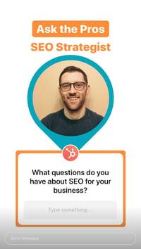SEO Q&A Instagram Story from HubSpot