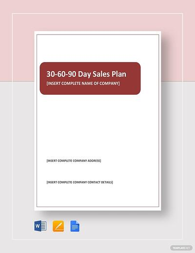 30-60-90-day sales plan cover in microsoft word