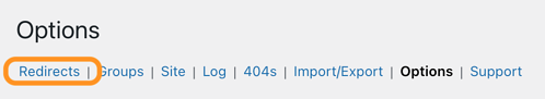the options menu  for adding 301 redirects in wordpress