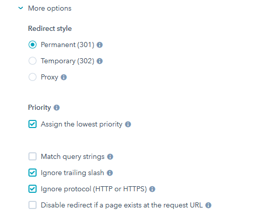 more options  for adding a 301 redirect in hubspot