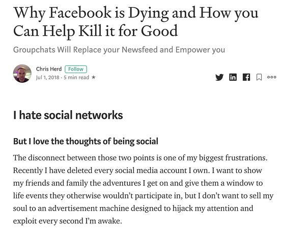 Medium article on why Facebook is dying.