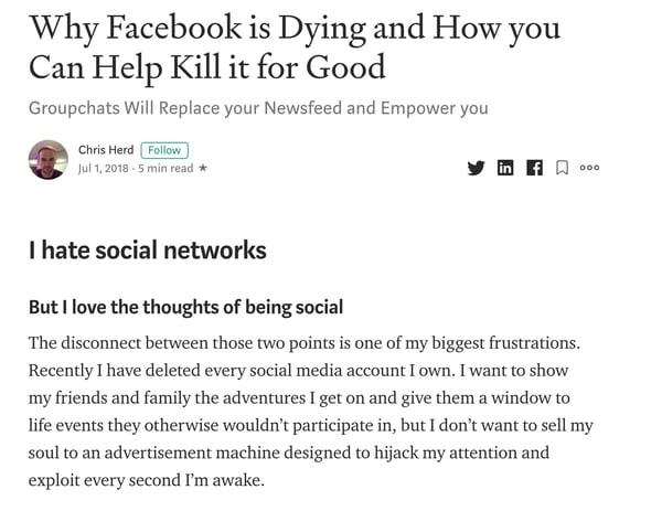 Artigo médio sobre por que o Facebook está morrendo.