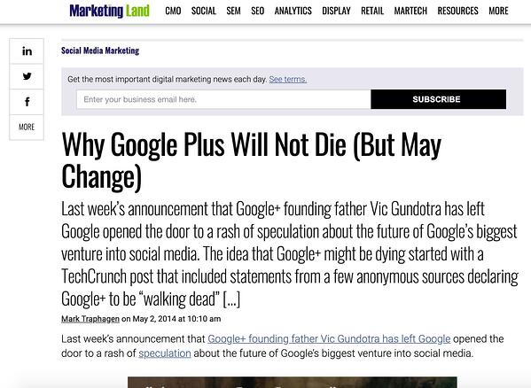 MarketingLand article on Google+.