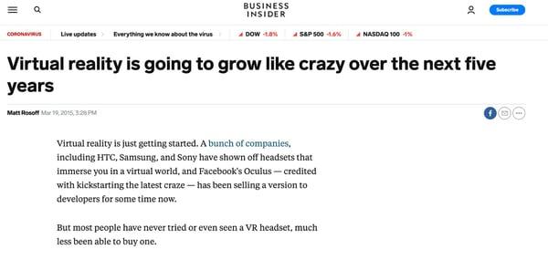 Business Insider预测虚拟现实将疯狂增长。