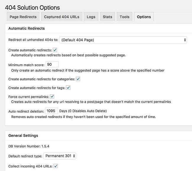 404 Solution plugin settings page