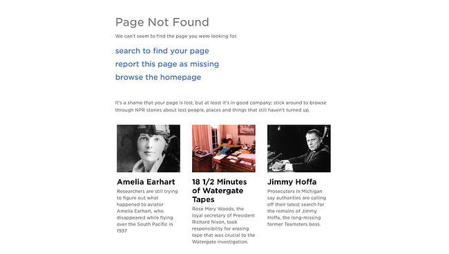 404 error page example from the website npr
