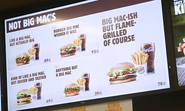 Big-MacIsh menu in Burger King newsjacking
