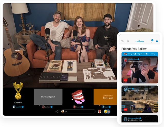 The Caffeine.tv streaming app interface