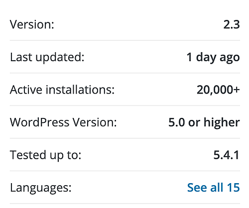usage and update statistics for the WordPress security plugin Defender