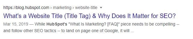 a HubSpot title tag example on the SERPs