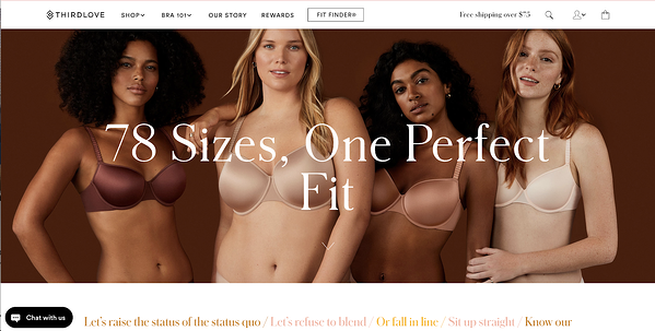 An inclusive marketing image of women from all backgrounds wearing ThirdLove bras is placed on the ThirdLove website