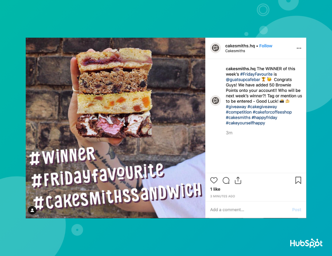 Cakesmiths hosted an Instagram giveaway.