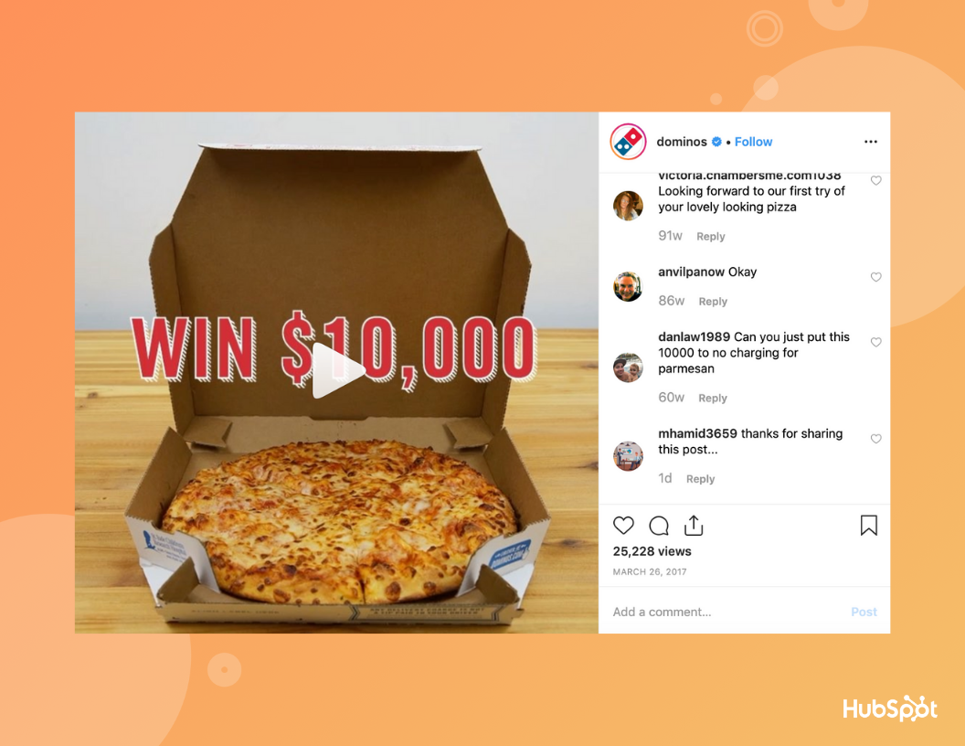 Dominos Instagram giveaway.