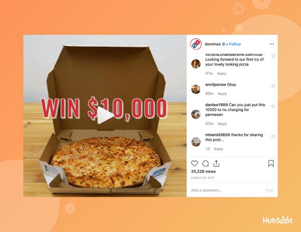 Dominos Instagram giveaway.
