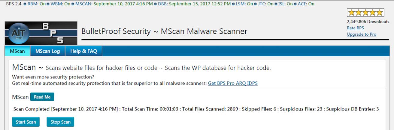 screenshot of the BulletProof Security WordPress security scan tool