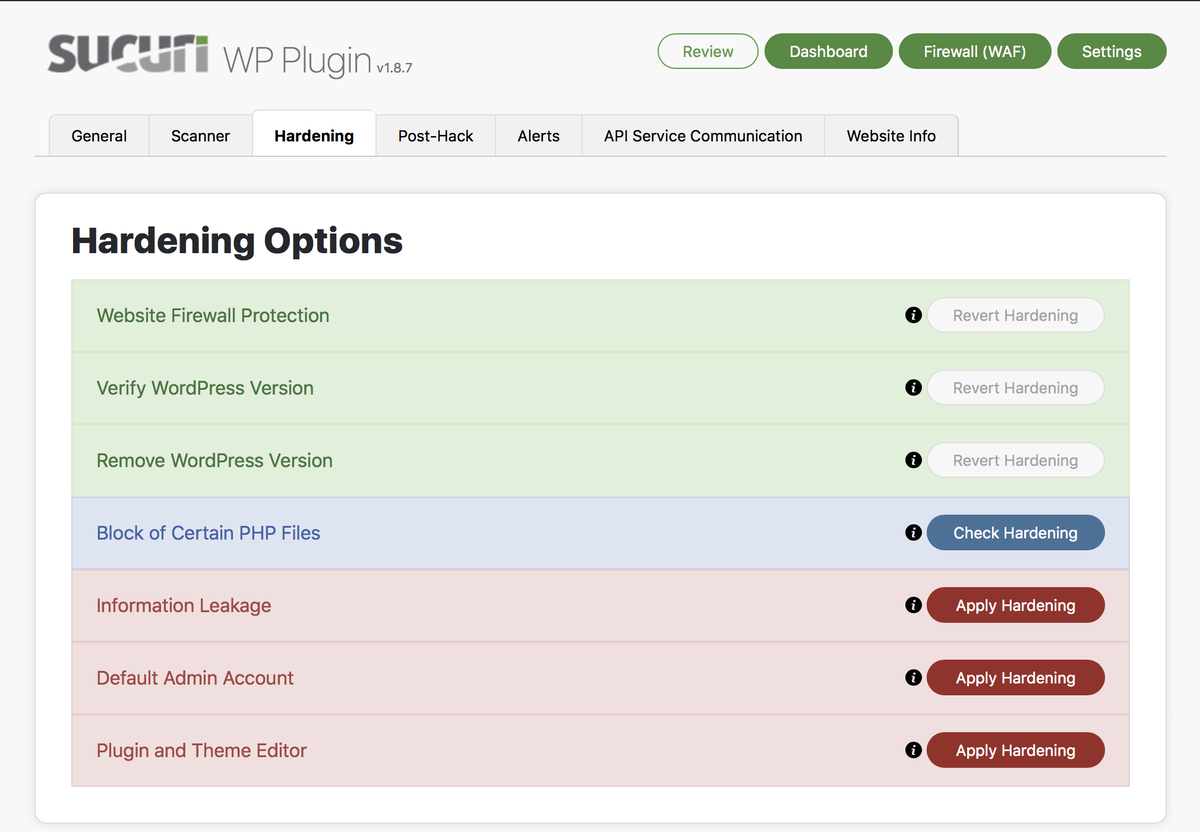 dashboard for the Sucuri tool for WordPress security scans