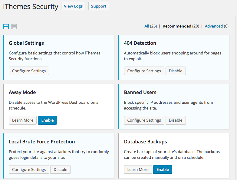 the iThemes security dashboard for running WordPress security scans