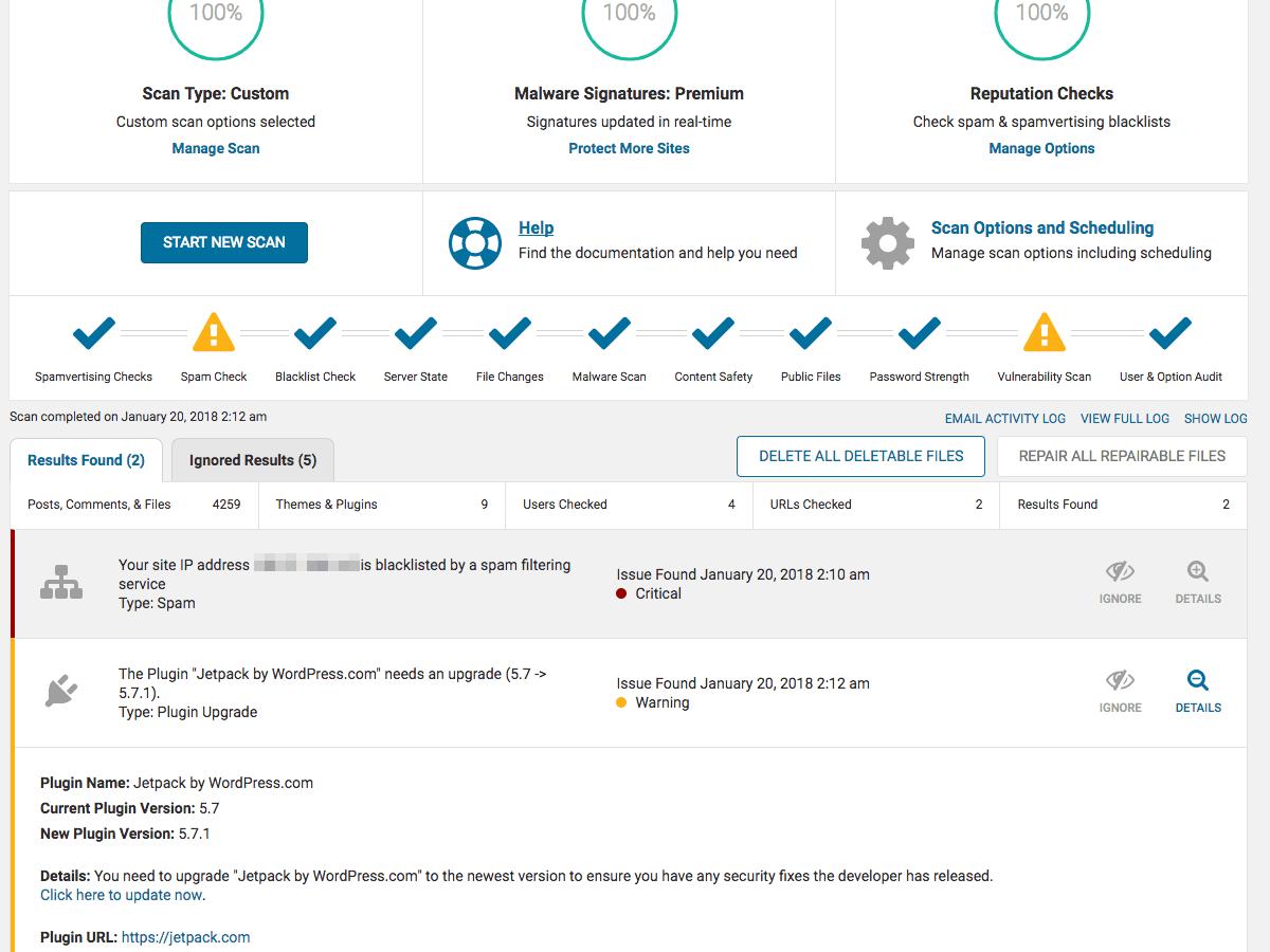 screenshot of the Wordfence WordPress security scan tool