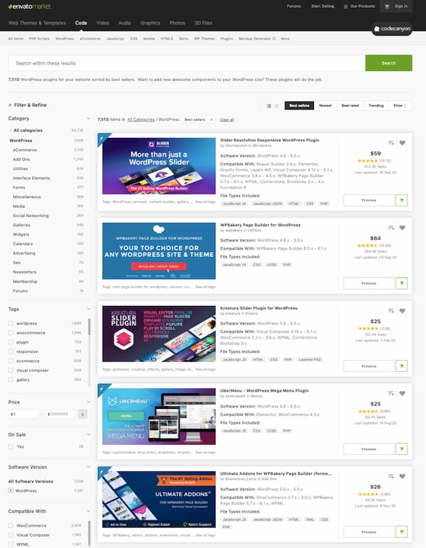 7500 premium WordPress plugins available in the CodeCanyon marketplace
