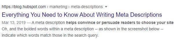 a HubSpot example of meta description on the SERPs