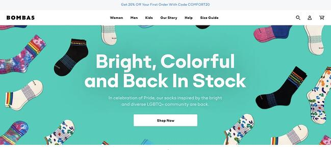 Bombas is a Shopify Plus website example