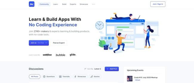 Nucode website is Bubble website example