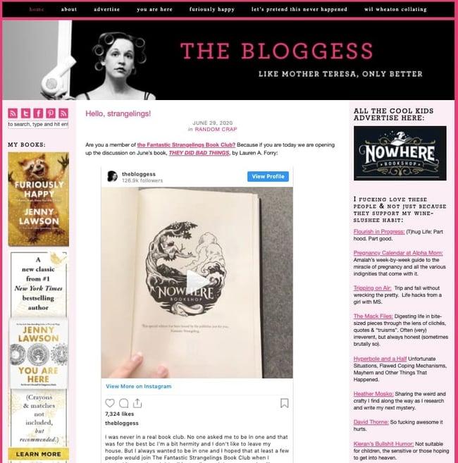 The Bloggess is popular WordPress website example
