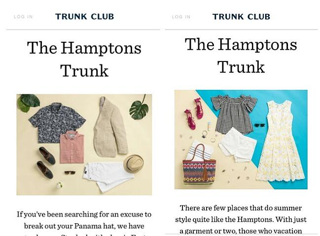 Trunk club mobile site compared before and after migration to contentful