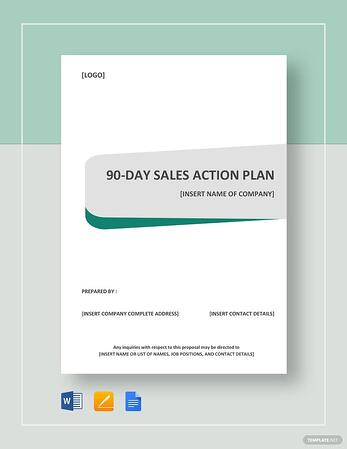 90-day sales action plan cover in microsoft word
