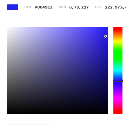 Color picker showing the HTML hex color code of a bright blue