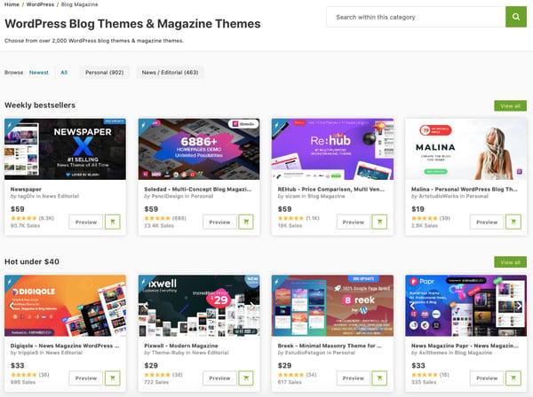 premium WordPress blogging themes in themeforest marketplace