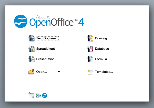 The screen you see when opening the Apache OpeOffice 4 Suite
