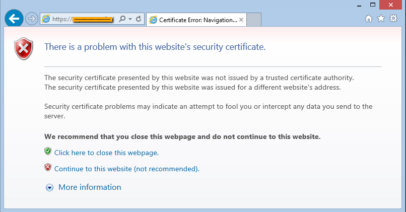 generic SSL certificate error in internet explorer