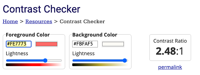 A color in NANA magazine websites color scheme fails to meet the WCAG required contrast ratio