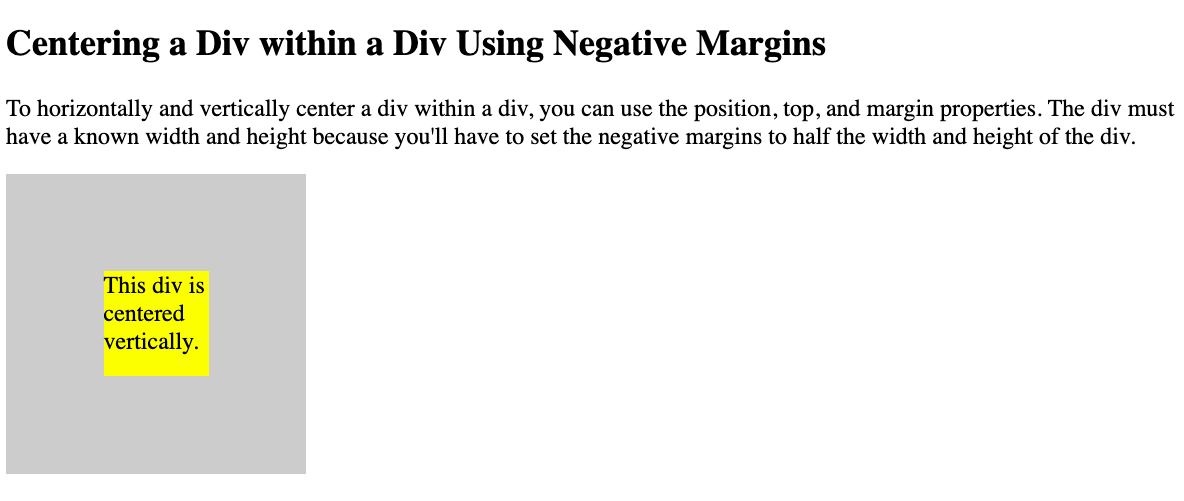 A div centered within a div horiztonally and vertically using the Position, Top, Left, and Margin Properties in CSS
