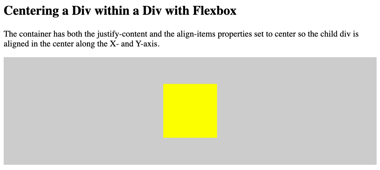 A div centered within a div using Flexbox in W3Schoolss Tryit editor