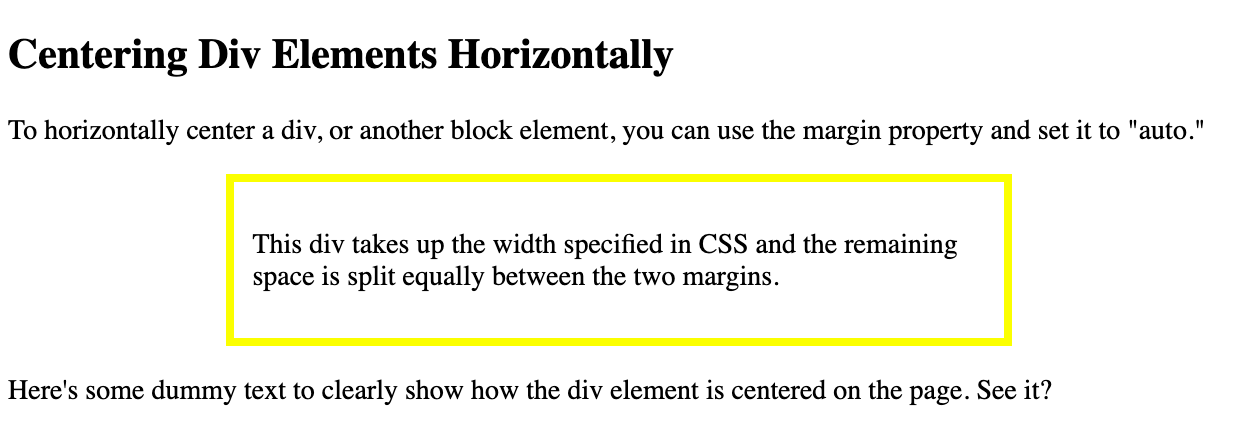 A div horizontally centered on the page using the margin property in CSS-1