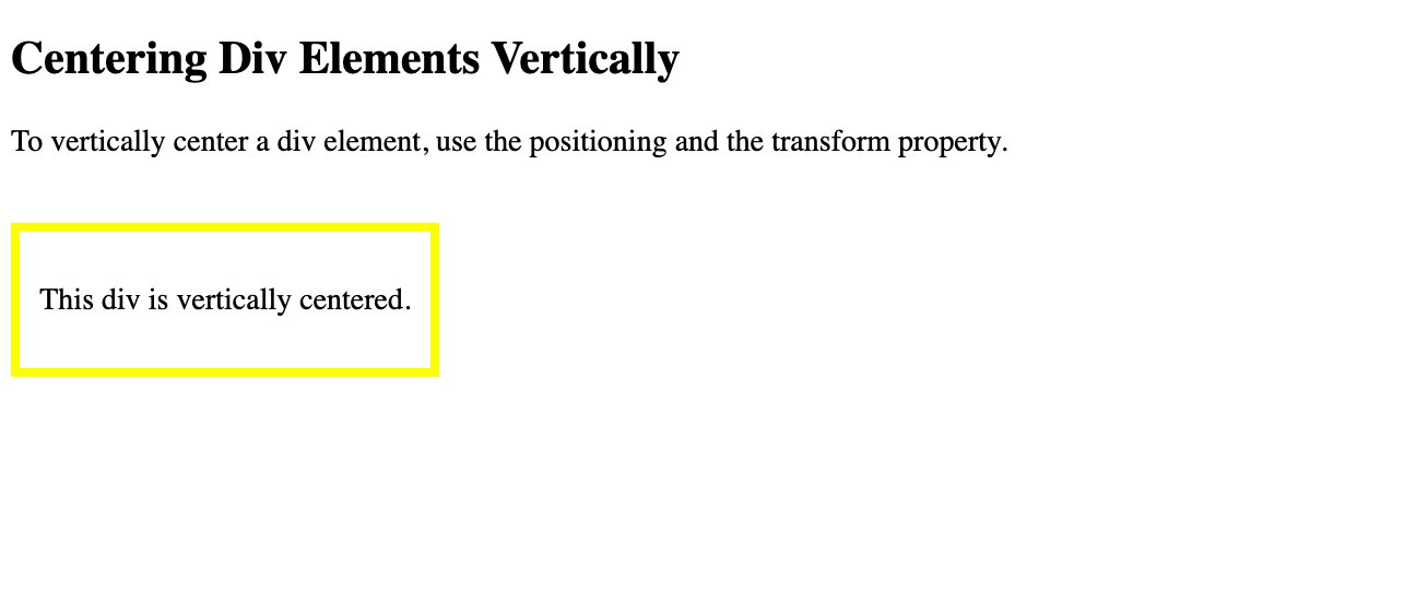A div is vertically centered on the page using the position, top, and transform properties in CSS-1