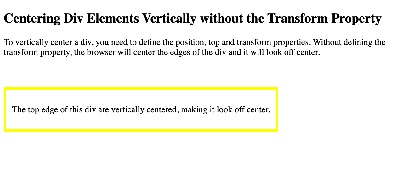 A div with its top edge vertically centered on the page in W3Schoolss Tryit Editor