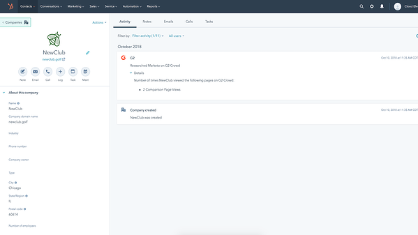Screenshot of G2 integration in HubSpot