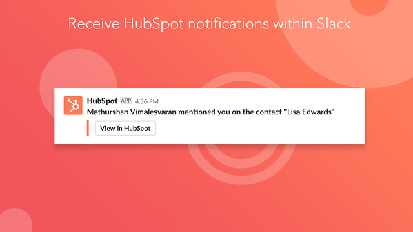 Screenshot of Slack integration in HubSpot