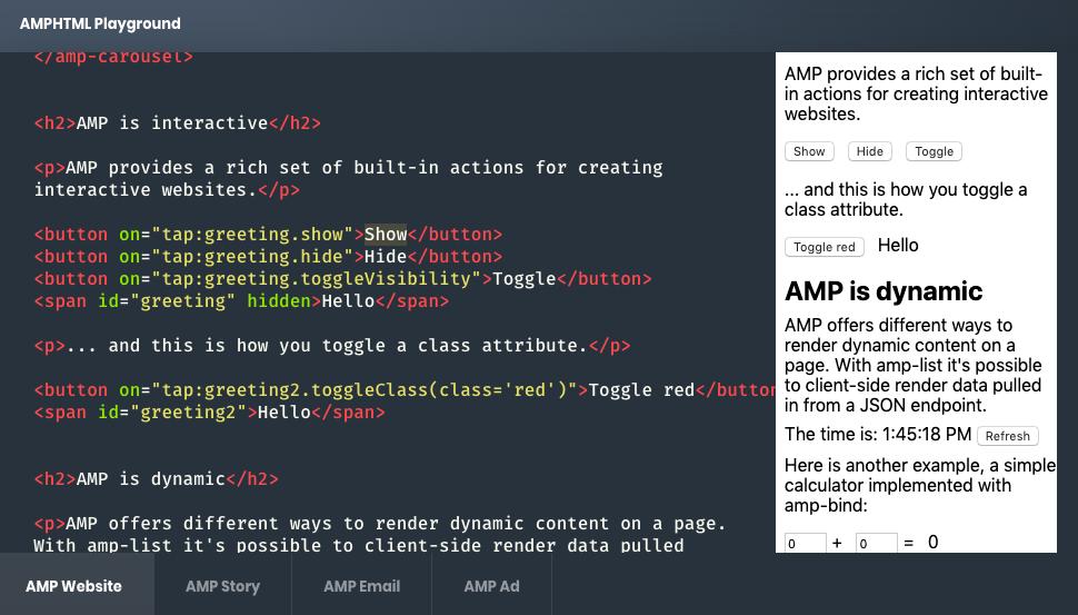 Google AMP butons code